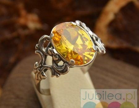 Xerta - srebrny pierścionek z cytrynem złocistym
