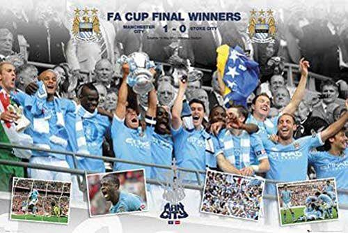 Empire 392480 Manchester City Zwycięzcy Pucharu FA 10/11 plakat sportowy 91,5 x 61 cm