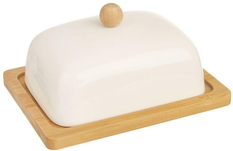 Maselniczka porcelanowa bambusowa biała z pokrywką maselnica pojemnik na masło