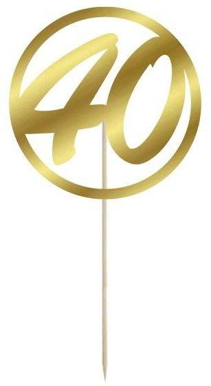 Topper na tort 40 okrągły 10cm złoty 1szt DTU40-1-019