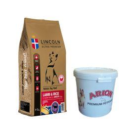 Pakiet Lincoln Lamb & Rice Jagnięcina Ryż Junior Large Breed 12 kg + Pojemnik na suchą karmę GRATIS!