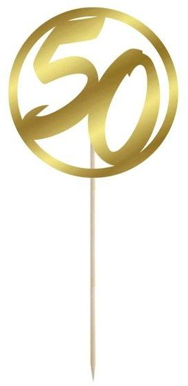 Topper na tort 50 okrągły 10cm złoty 1szt DTU50-1-019