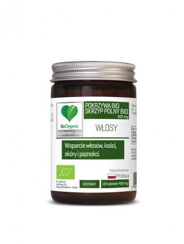 Skrzyp + pokrzywa ekstrakt BIO 100 tabletek (400 mg) Be Organic