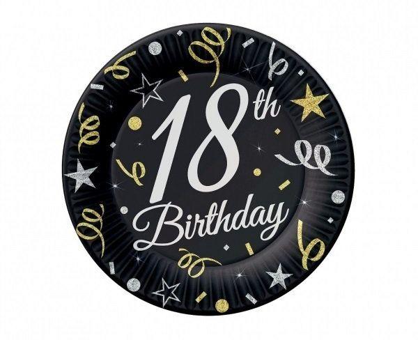 Talerzyki papierowe 18th Birthday czarne 18cm 8 sztuk TP-18B7