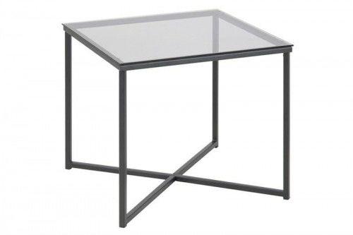 Stolik kwadratowy Cross szkło/czarny