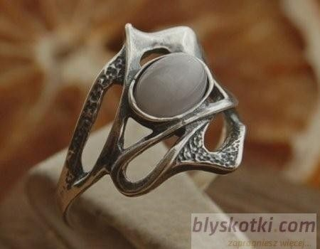 Lobelia - srebrny pierścionek z kocim okiem