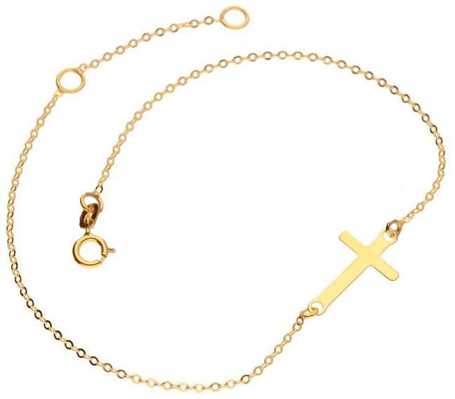 Złota bransoletka 333 celebrytka krzyżyk 0,50 g