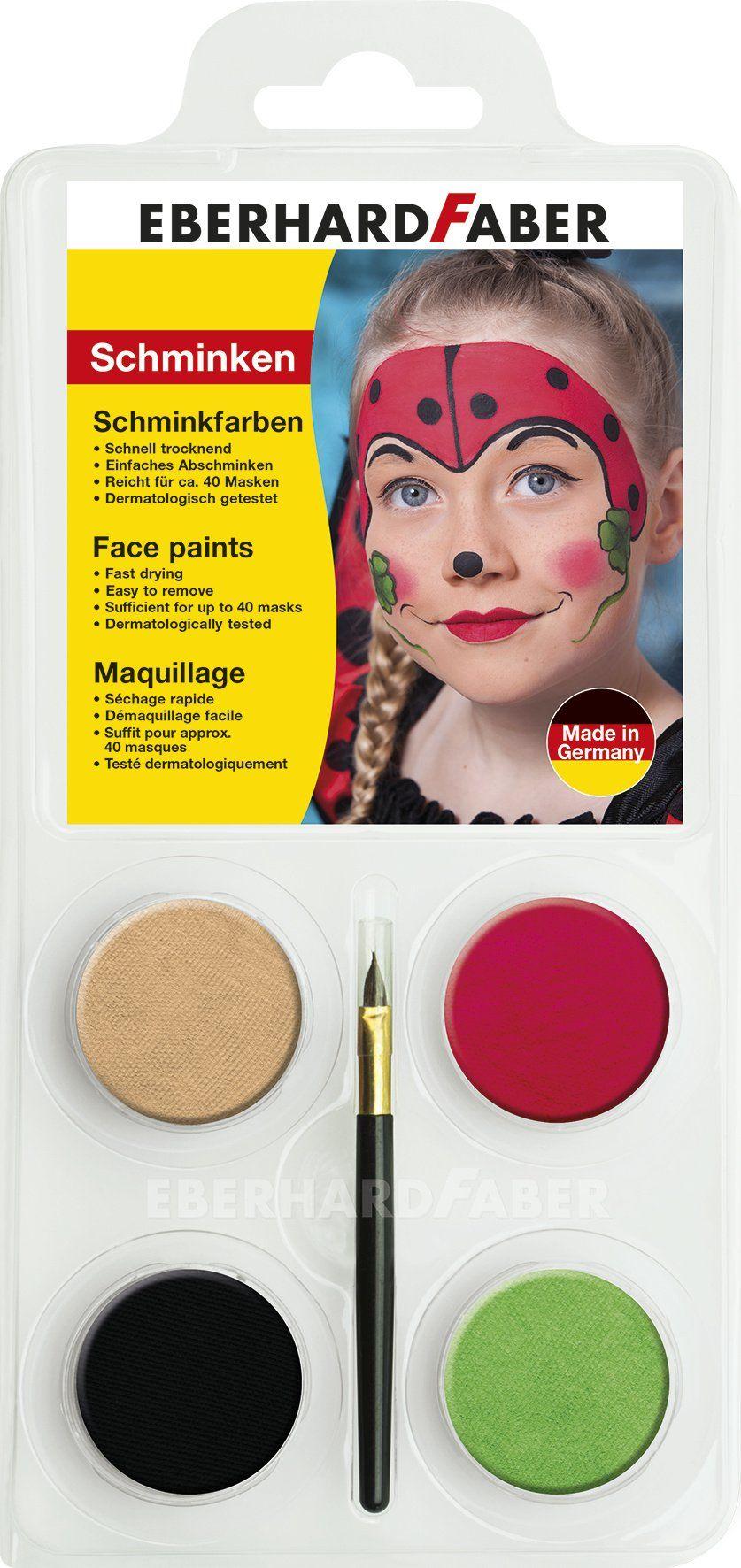 Eberhard Faber 579016  zestaw do makijażu dla dzieci biedronka, kolory złoty, czerwony, czarny i zielony, łącznie z pędzelkiem, rozpuszczalny w wodzie, szybkoschnący, do malowania twarzy