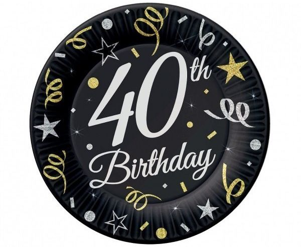 Talerzyki papierowe 40th Birthday czarne 23cm 6 sztuk TP-40B9