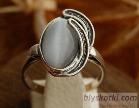 Baneza - srebrny pierścionek z kocim okiem