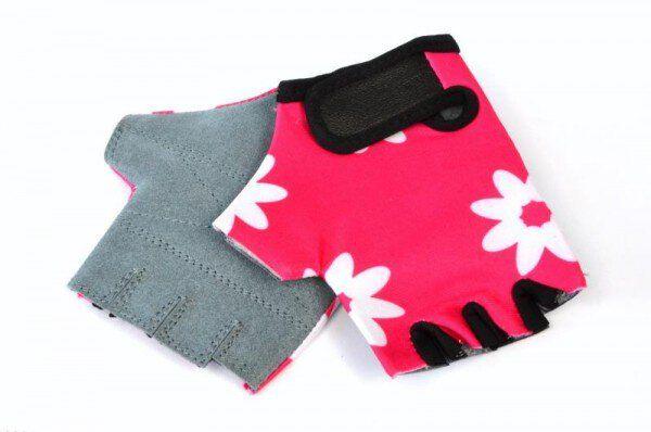 Rękawiczki rowerowe dziecięce Lycra 4 Kwiatki