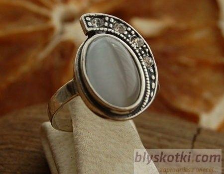 Ponti - srebrny pierścionek z kocim okiem i kryształami