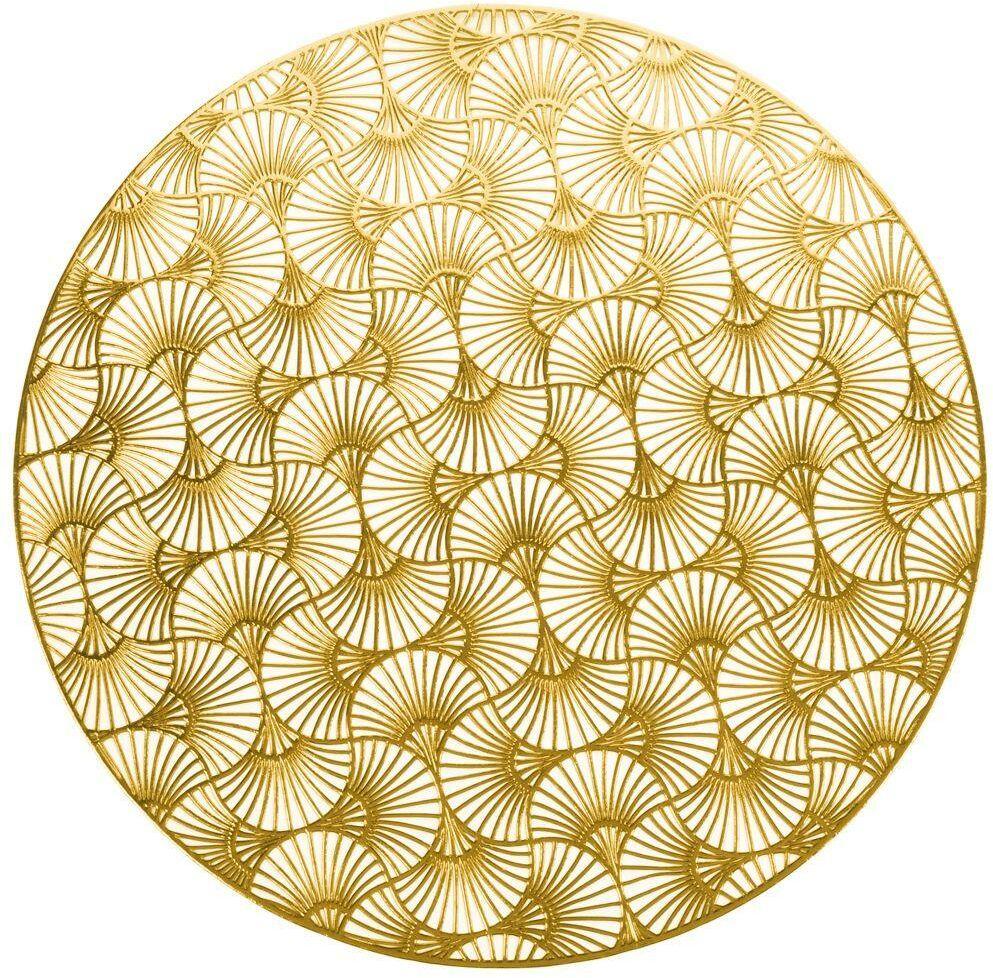 Mata kuchenna, złota, na stół, podkładka pod talerz, sztućce, okrągła