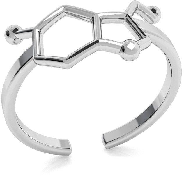 Srebrny pierścionek serotonina, wzór chemiczny 925 : Srebro - kolor pokrycia - Pokrycie platyną