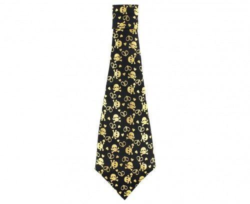 Czarny Krawat w złote czaszki