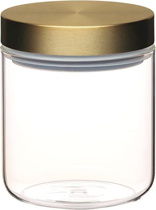 KitchenCraft MasterClass szczelny szklany słoik do przechowywania żywności z mosiężną pokrywką, przezroczysty, 700 ml (1,25 kulek)
