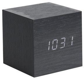 Zegar stołowy, budzik Mini Cube black LED by Karlsson
