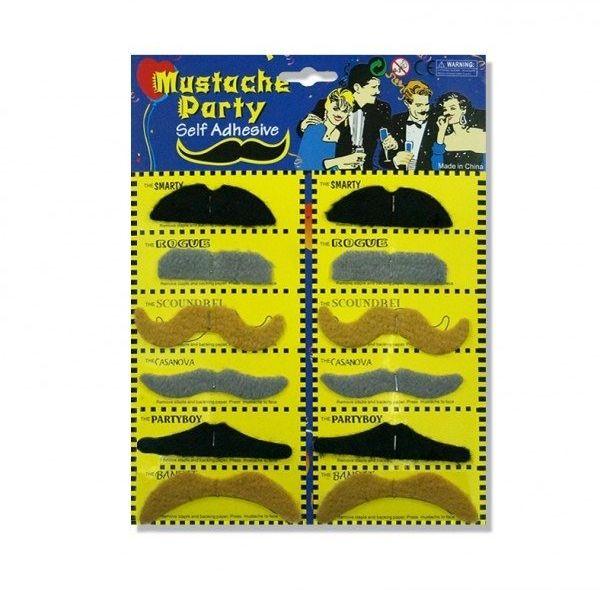 Sztuczne wąsy samoprzylepne mix kolorów 12 sztuk WA2
