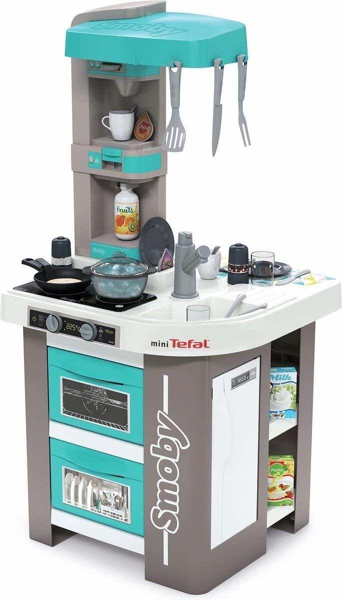 Smoby Tefal Studio Bubble kuchnia do zabawy dla dzieci z wieloma funkcjami, garnki, patelnie, sztućce kuchenne, kuchenka, piekarnik dla dzieci od 3 lat