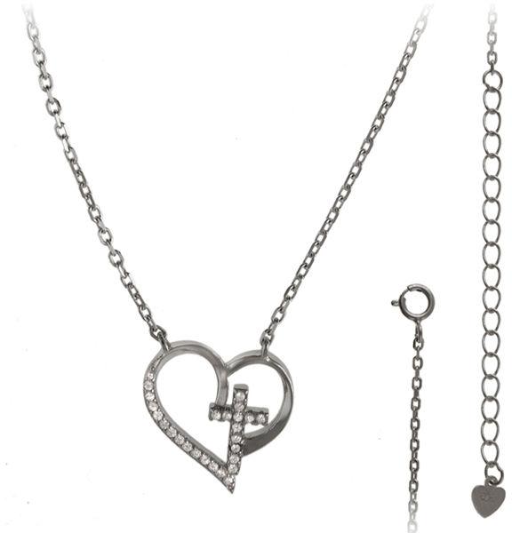 Srebrny naszyjnik 925 serce z krzyżem 3,2g