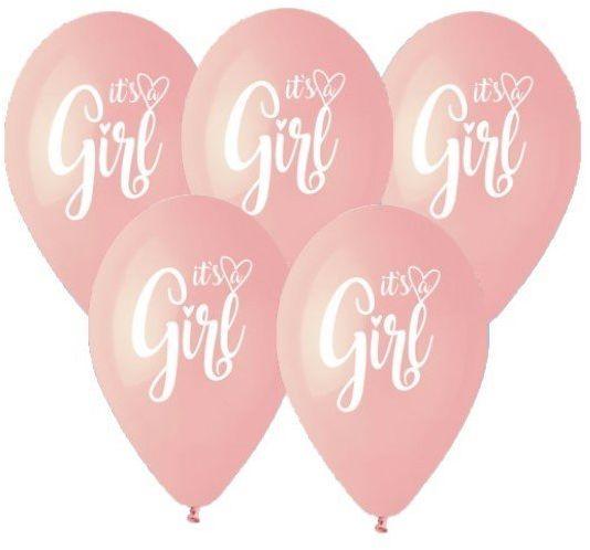 Balony na Baby Shower It''s a Girl różowe 33cm 5 sztuk GS120/961