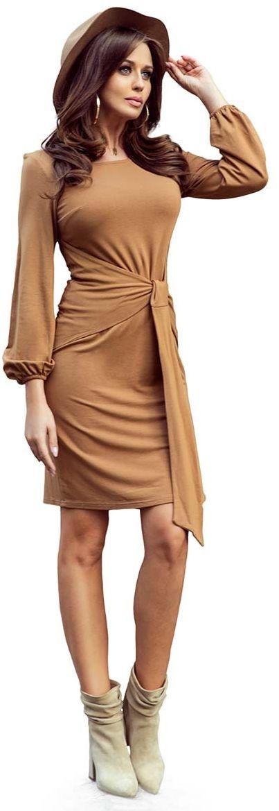 Karmelowa wyjątkowa sukienka z wiązaniem w pasie