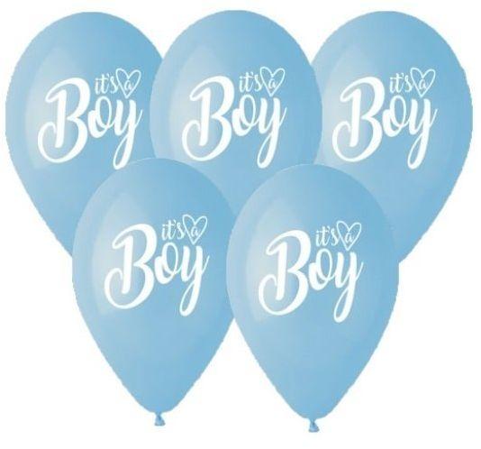 Balony na Baby Shower It''s a Boy niebieskie 33cm 5 sztuk GS120/962