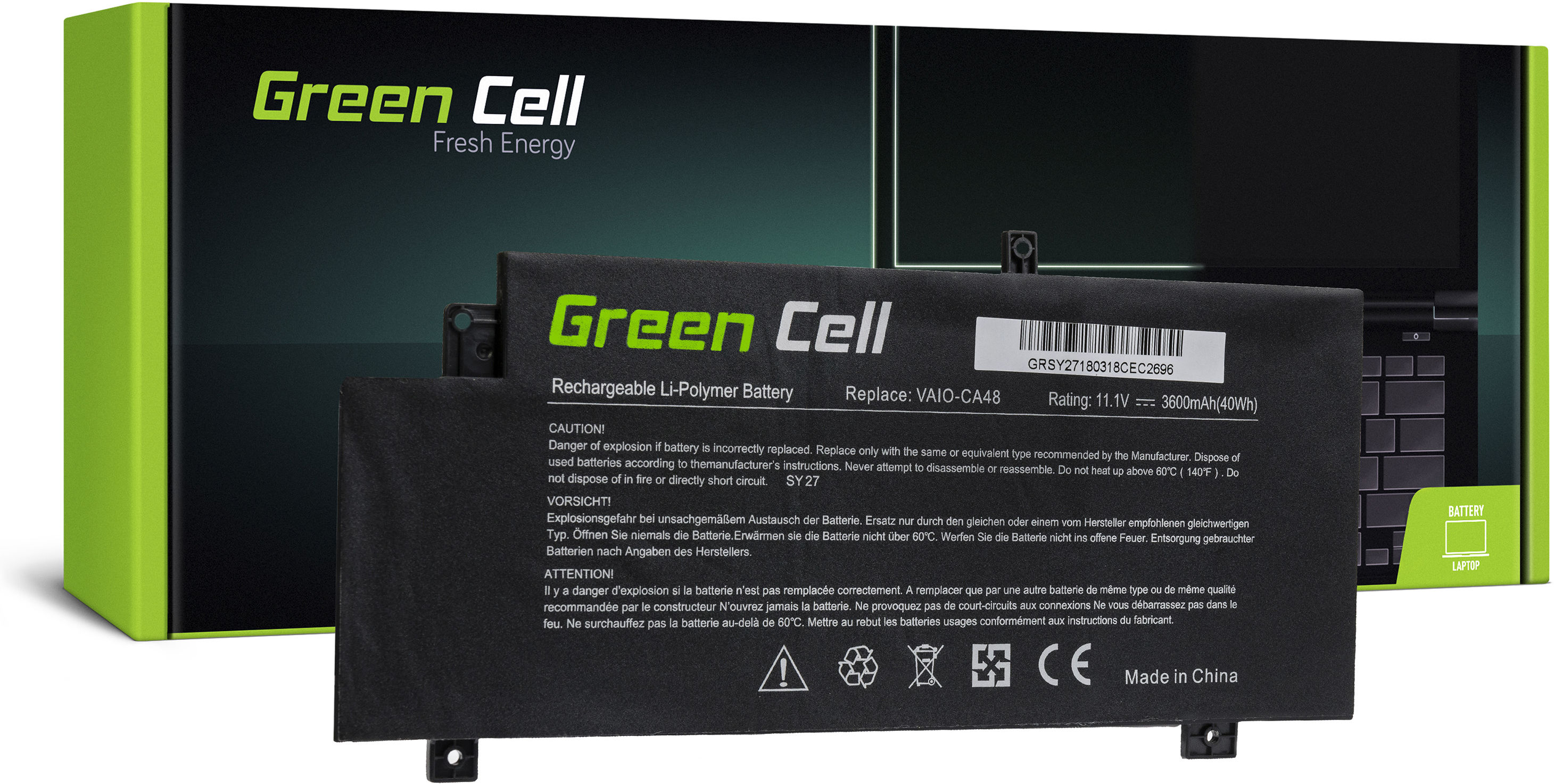 Bateria Green Cell VGP-BPS34 do Sony Vaio Fit 14 SVF14A 15 SVF15A SVF15A1M2ES