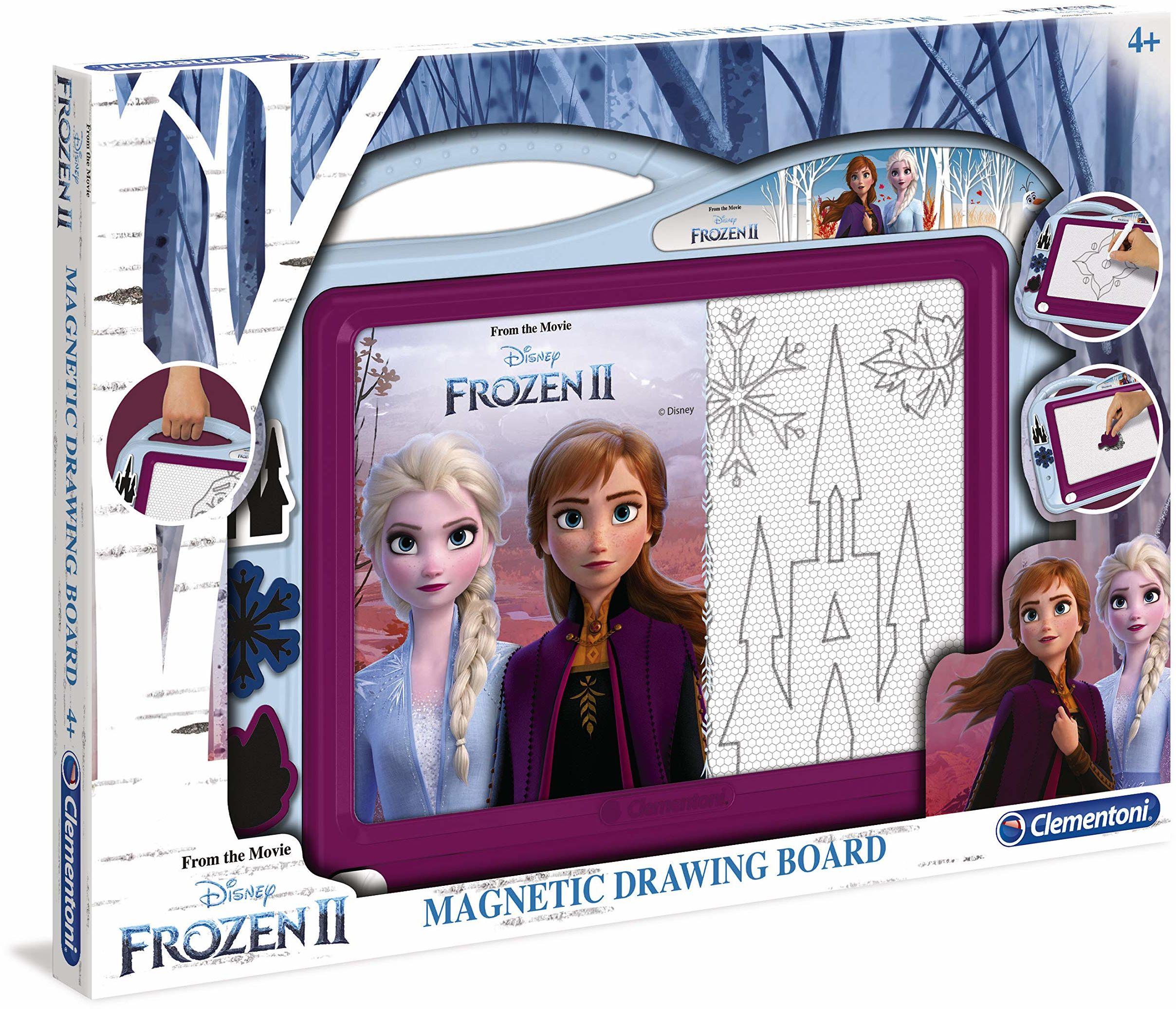 Clementoni 15290 magiczna tablica Disney Frozen 2, magnetyczna tablica do rysowania i malowania, do zmywania i ponownego użytku, z 3 szablonami, zabawka kreatywna dla dzieci od 4 roku życia
