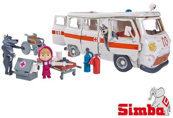 Masza i Niedźwiedź Ambulans Simba akcesoria lekarskie REKLAMA TV LK