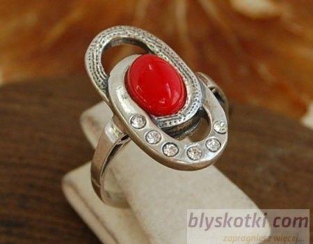 Lolo - srebrny pierścionek z koralem i kryształkami
