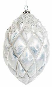 EUROCINSA Ref.27210 zawieszka w kształcie ananasa, szkło białe, matowe, z kamieniami i cekinami, 13 x 17 cm, 4 sztuki, rozmiar uniwersalny