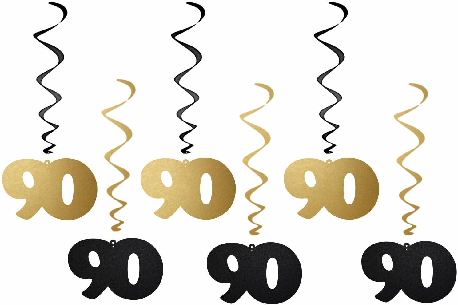 Dekoracja wisząca świderki 90 urodziny - 6 szt.