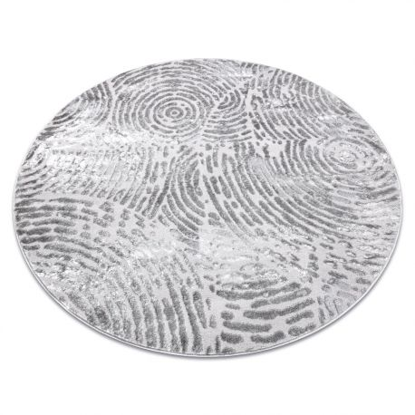 Dywan MEFE nowoczesny Koło 8725 Koła odcisk palca - Strukturalny, dwa poziomy runa szary koło 100 cm
