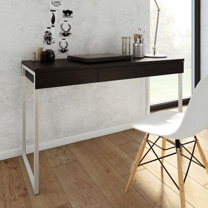 Function biurko 3s czarne z fakturą drewna
