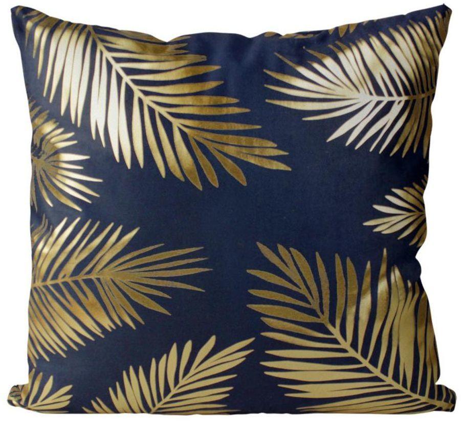 Poduszka w złote liście Golden Style niebieska 45 x 45 cm