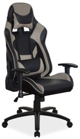 Fotel SUPRA czarny/szary gamingowy z odchylanym oparciem  KUP TERAZ - OTRZYMAJ RABAT