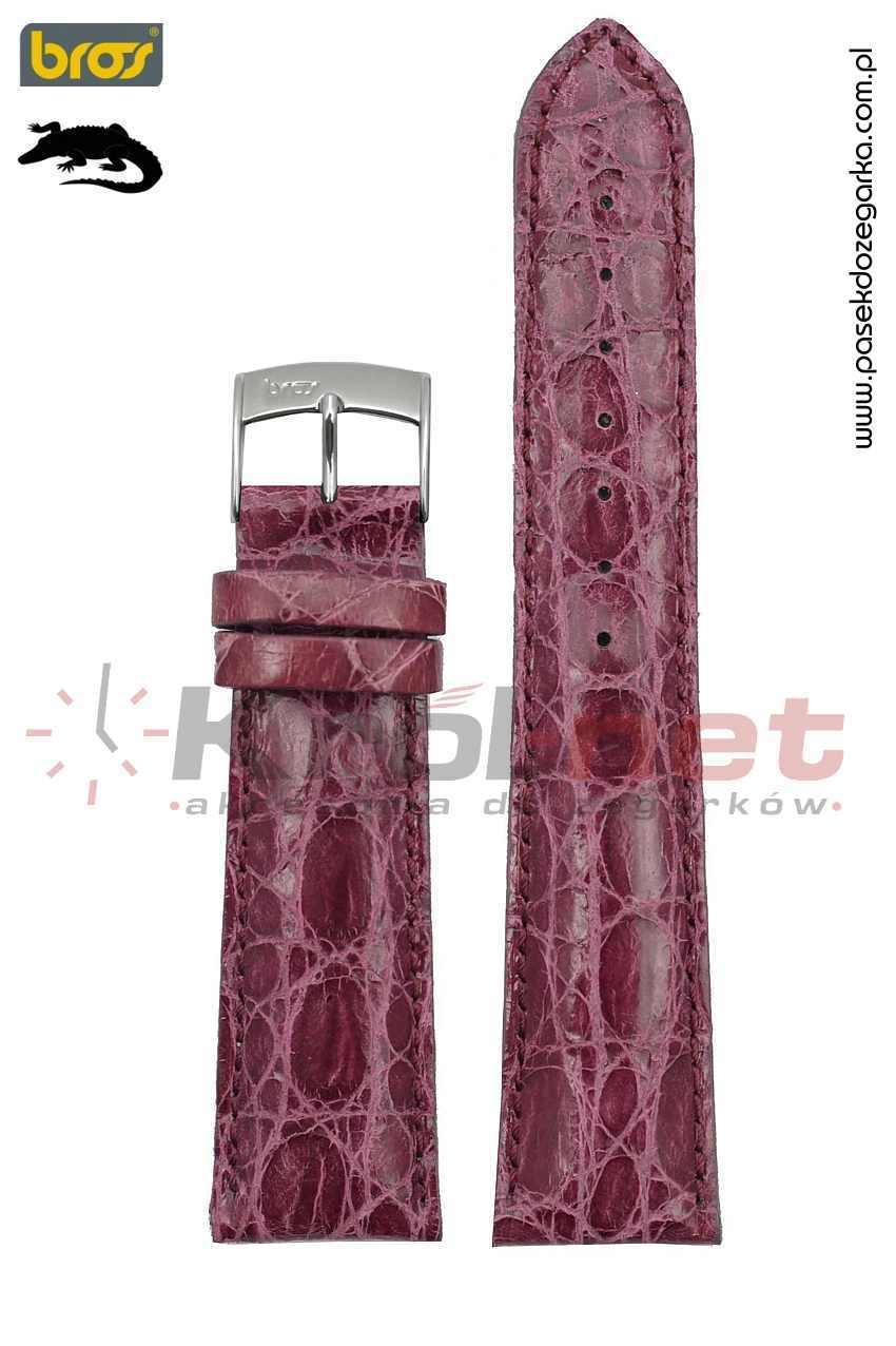 Pasek do zegarka Bros 8130/52/20 - krokodyl, fioletowy