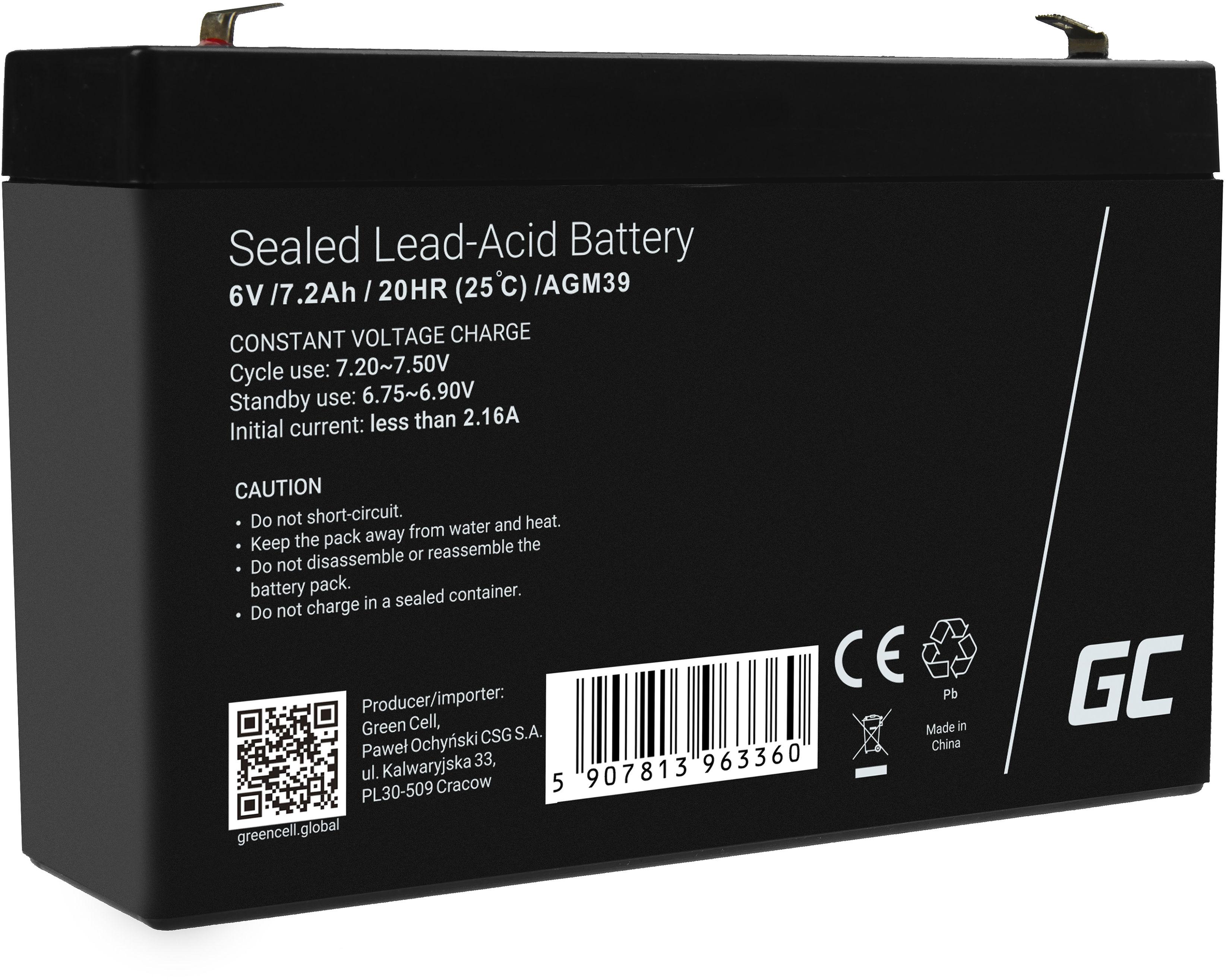 Green Cell AGM VRLA 6V 7.2Ah bezobsługowy akumulator do systemu alarmowego kasy fiskalnej zabawki