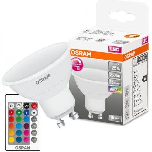 Żarówka LED Osram GU10 RGBW biała ciepła 4,5W + pilot