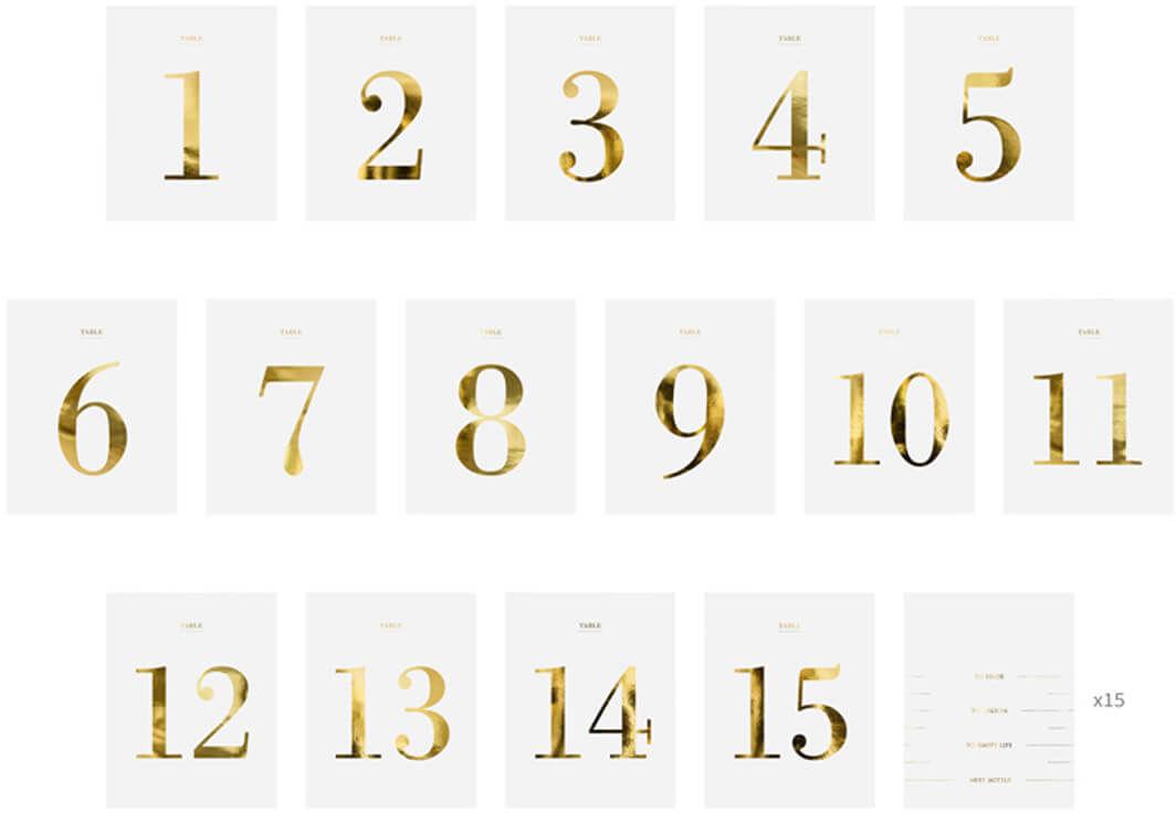 Zestaw naklejek numery na stół - 30 szt.