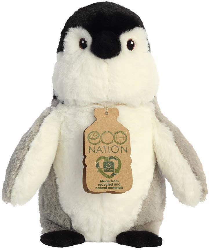 Aurora, 35015, Eco Nation, pingwin, 24 cm, miękka zabawka, (szary/biały/czarny)