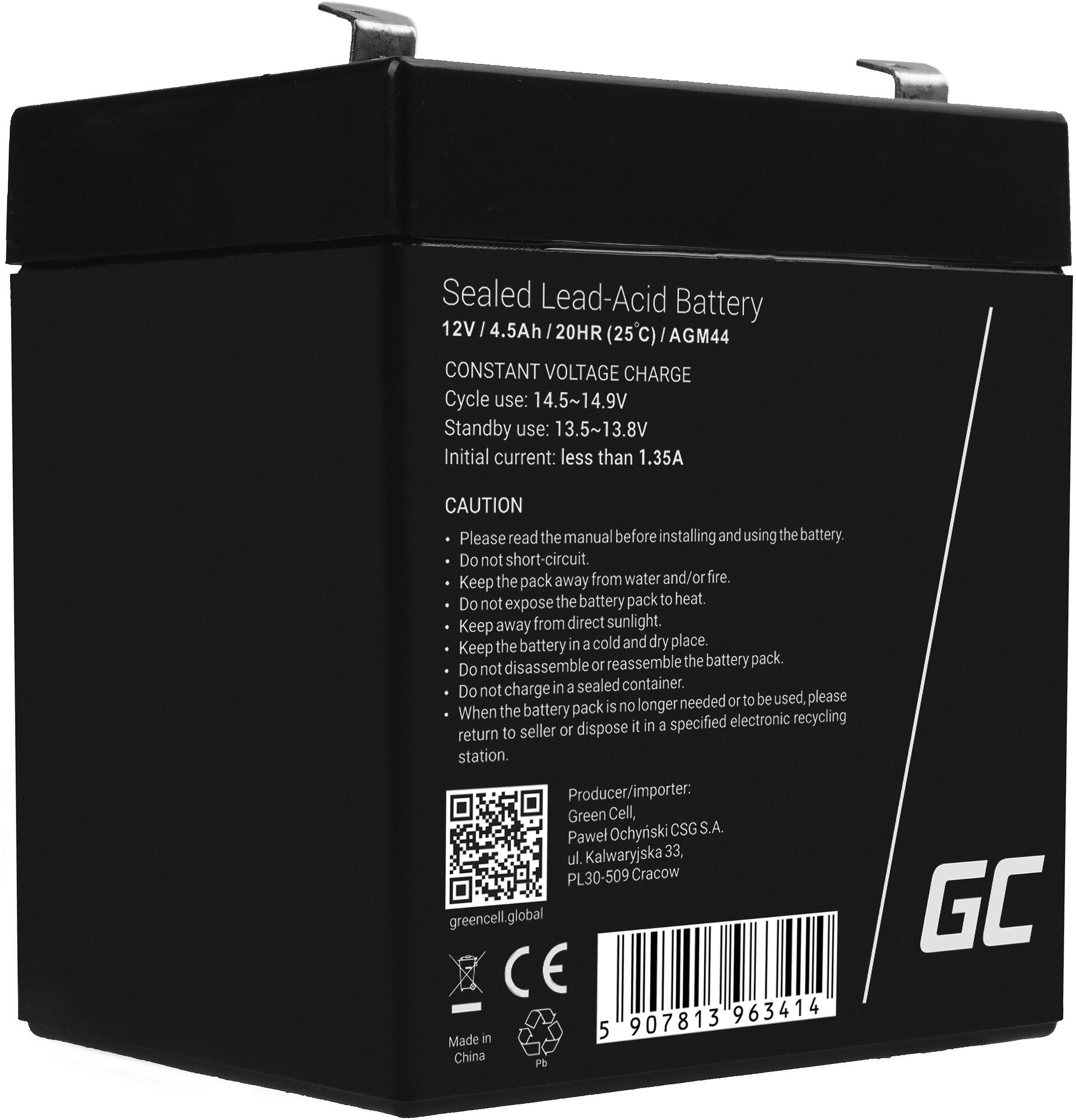 Green Cell AGM VRLA 12V 4.5Ah bezobsługowy akumulator do zasilaczy awaryjnych UPS systemów zasilania awaryjnego UPS