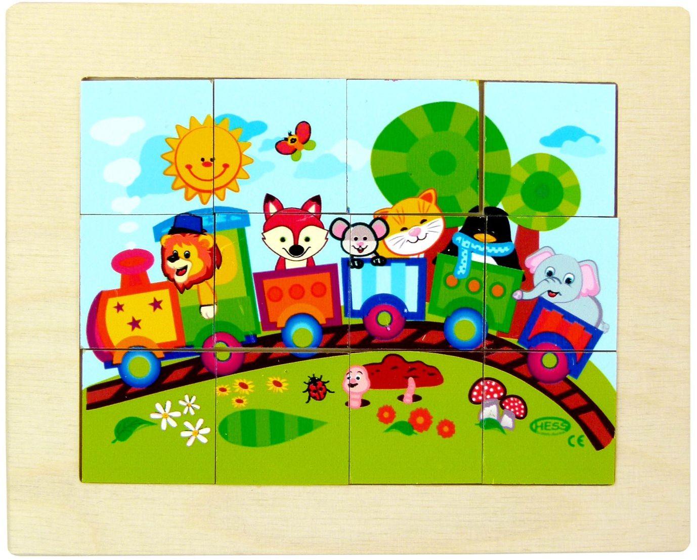 Hess drewniana zabawka 14945 - mini puzzle z drewna kolejka, 12 części, ok. 12 cm