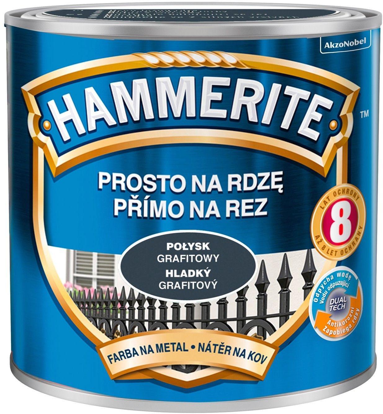Farba Hammerite Prosto Na Rdzę grafit połysk 250ml