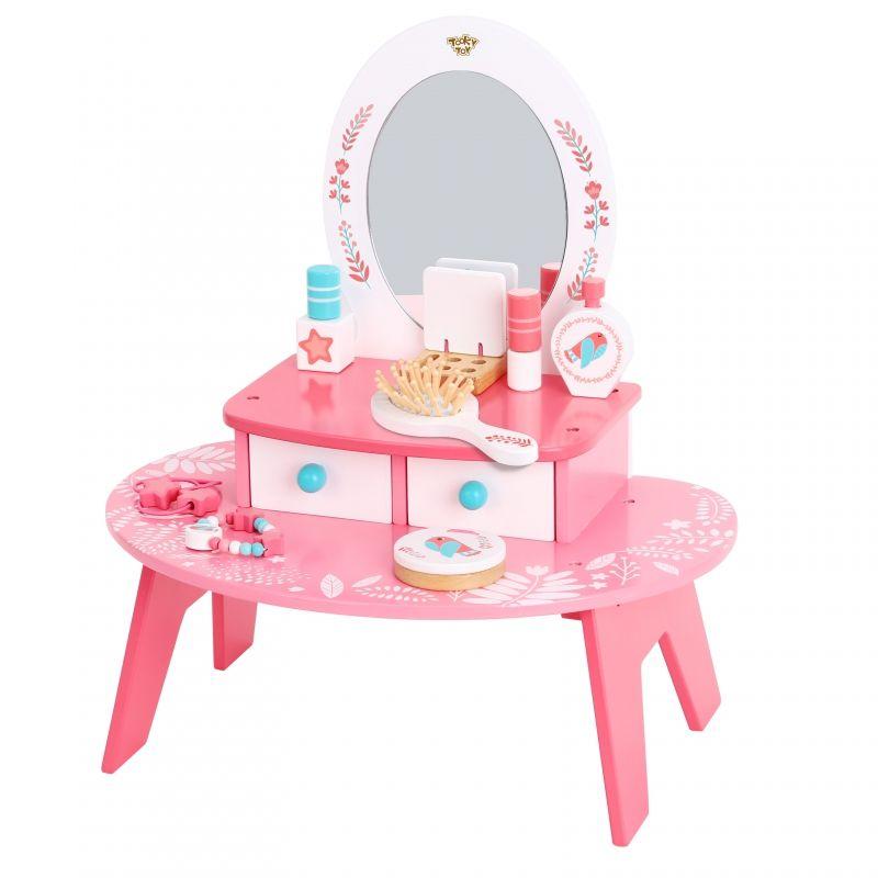 TOOKY TOY Różowa Toaletka Drewniana Do Makijażu z Lustrem LK