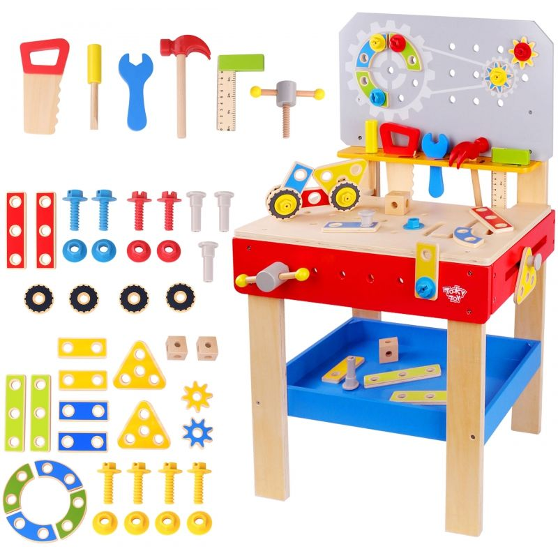TOOKY TOY Drewniany Warsztat Mechanika dla dzieci + NARZĘDZIA LK