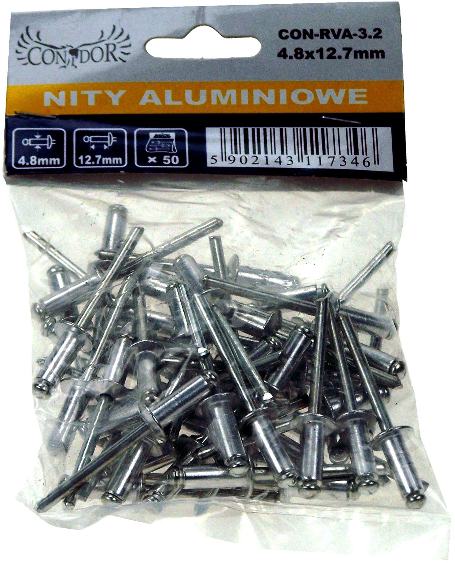 Nit aluminiowy zrywalny 9,6x4,0mm 50szt