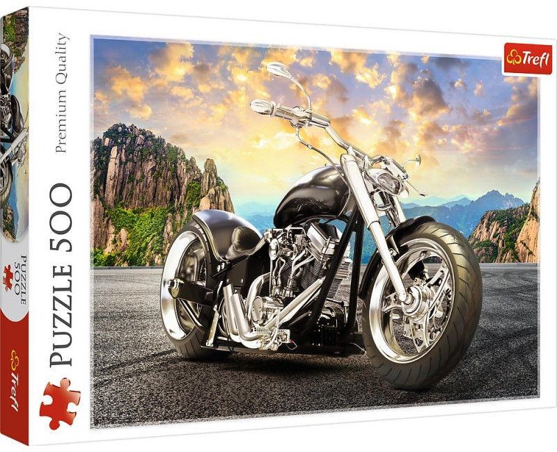 Puzzle TREFL 500 - Czarny motocykl, Black motorcycle