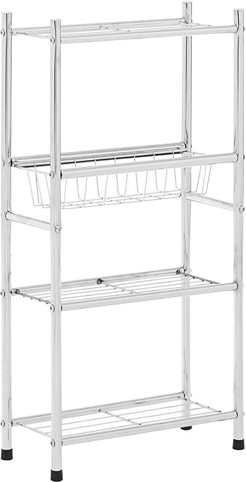 Premier Housewares 4-poziomowa półka, z koszem, chromowany metal, srebrny